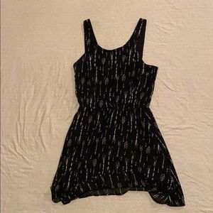 black dress with white designs